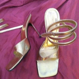 Roberto Cavalli gold coil ankle wrap spiked  heels